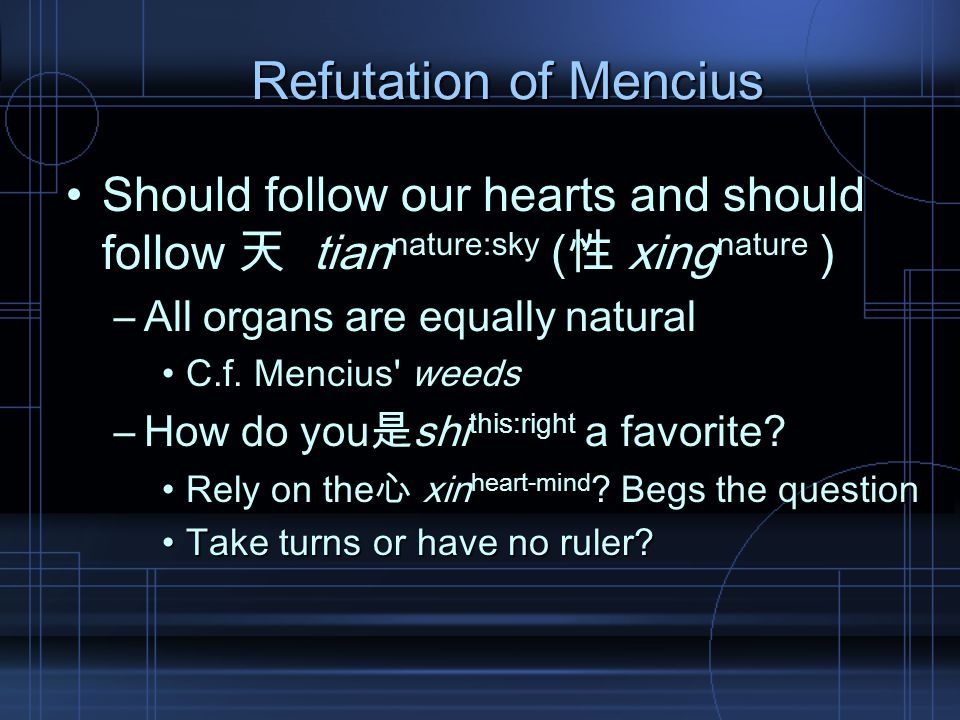 Refutation of Mencius Should follow our hearts and should follow 天 tian nature:sky (性 xing nature )Should follow our hearts and should follow 天 tian nature:sky (性 xing nature ) –All organs are equally natural C.f.
