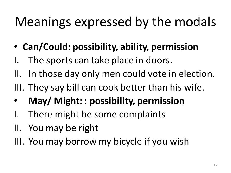 Meanings expressed by the modals Can/Could: possibility, ability, permission I.The sports can take place in doors. II.In those day only men could vote