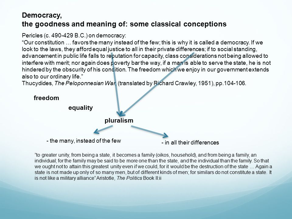 Democracy, the goodness and meaning of: some classical conceptions Pericles (c.
