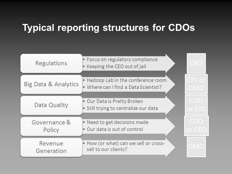 Typical reporting structures for CDOs Focus on regulatory compliance Keeping the CEO out of jail Regulations Hadoop Lab in the conference room Where can I find a Data Scientist.