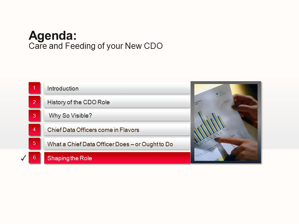 Care and Feeding of your New CDO Agenda: