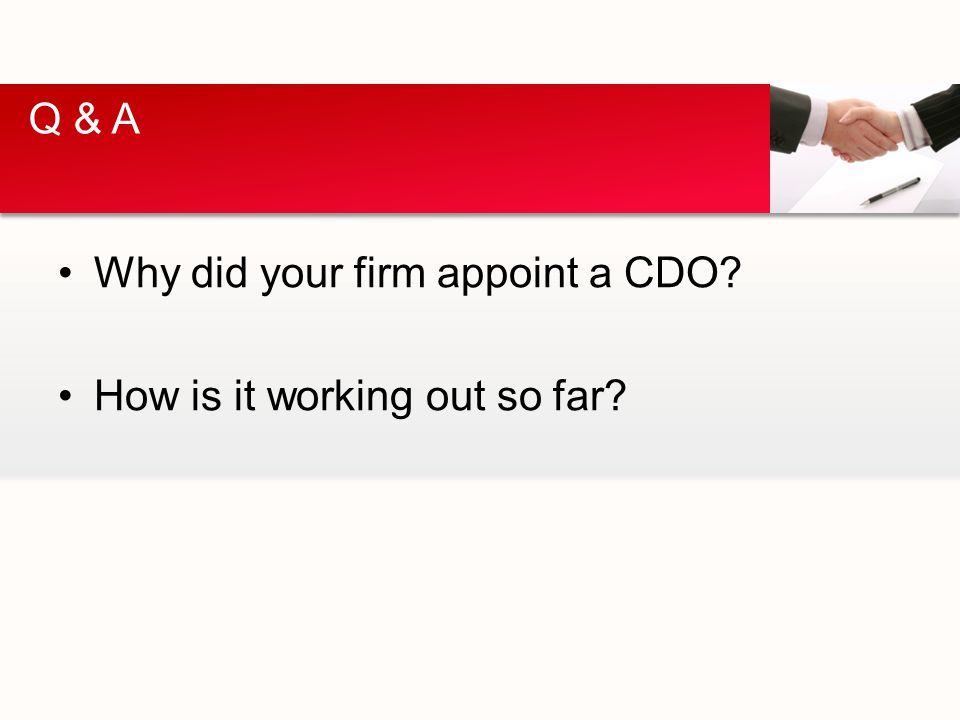 Why did your firm appoint a CDO How is it working out so far Q & A