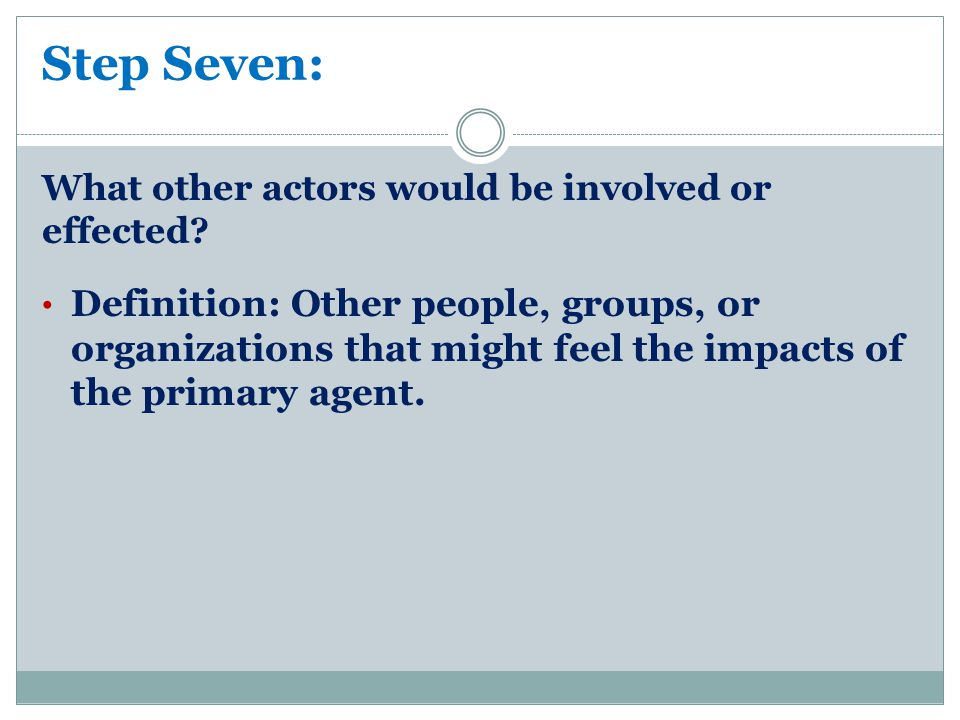 Step Seven: What other actors would be involved or effected.