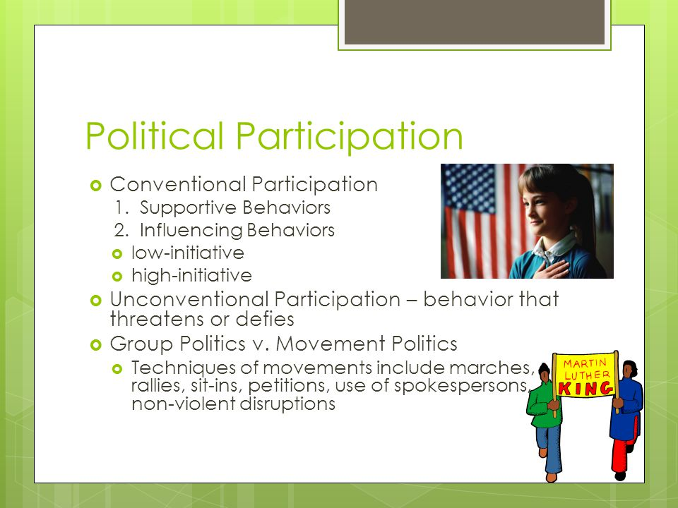 Political Participation  Conventional Participation 1.