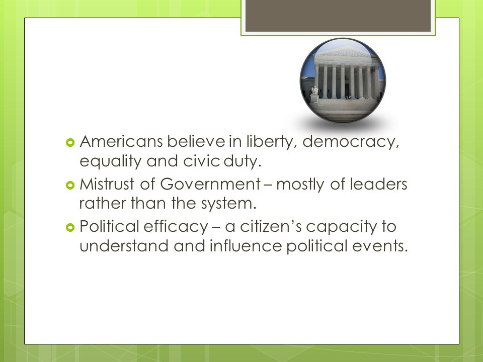  Americans believe in liberty, democracy, equality and civic duty.
