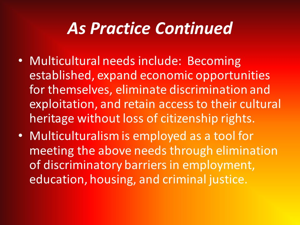 As Practice Continued Multicultural needs include: Becoming established, expand economic opportunities for themselves, eliminate discrimination and exploitation, and retain access to their cultural heritage without loss of citizenship rights.