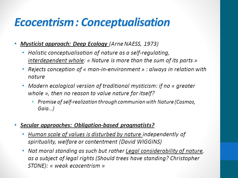Ecocentrism : Conceptualisation Mysticist approach: Deep Ecology (Arne NAESS, 1973) Holistic conceptualisation of nature as a self-regulating, interdependent whole: « Nature is more than the sum of its parts » Rejects conception of « man-in-environment » : always in relation with nature Modern ecological version of traditional mysticism: if no « greater whole », then no reason to value nature for itself.