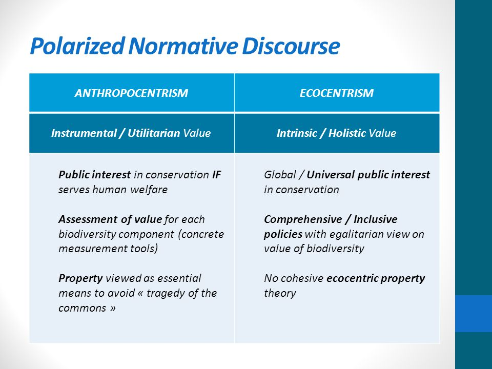 Polarized Normative Discourse ANTHROPOCENTRISMECOCENTRISM Instrumental / Utilitarian ValueIntrinsic / Holistic Value Public interest in conservation IF serves human welfare Assessment of value for each biodiversity component (concrete measurement tools) Property viewed as essential means to avoid « tragedy of the commons » Global / Universal public interest in conservation Comprehensive / Inclusive policies with egalitarian view on value of biodiversity No cohesive ecocentric property theory