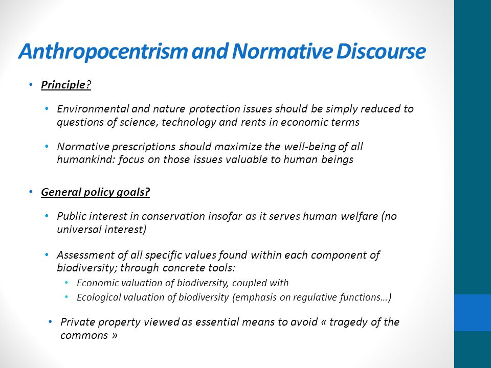 Anthropocentrism and Normative Discourse Principle.