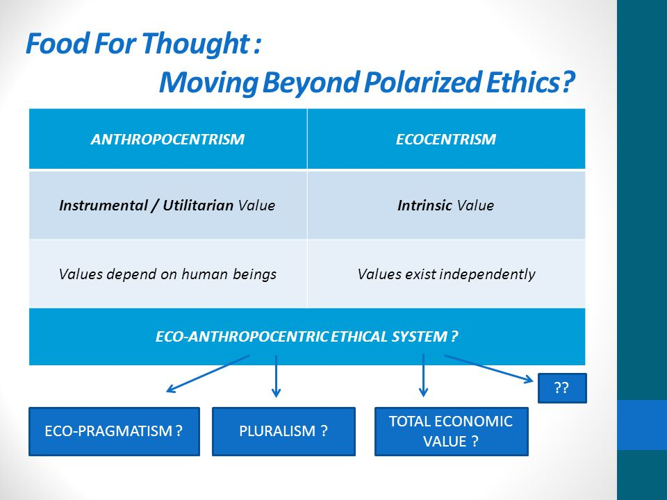 Food For Thought : Moving Beyond Polarized Ethics.