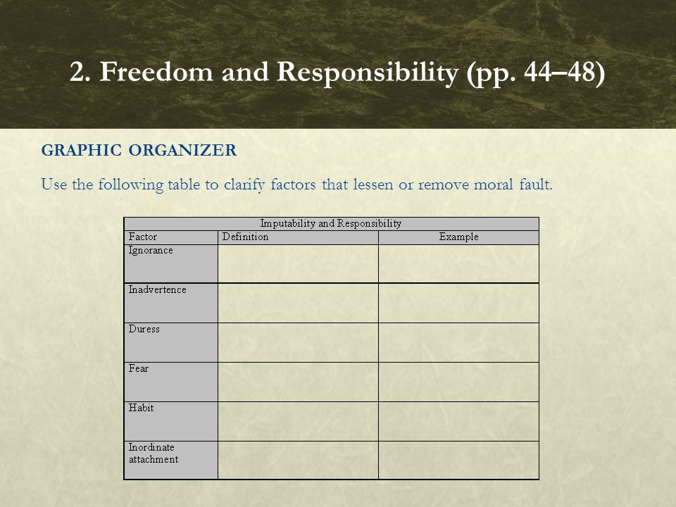 GRAPHIC ORGANIZER Use the following table to clarify factors that lessen or remove moral fault. 2. Freedom and Responsibility (pp. 44–48)