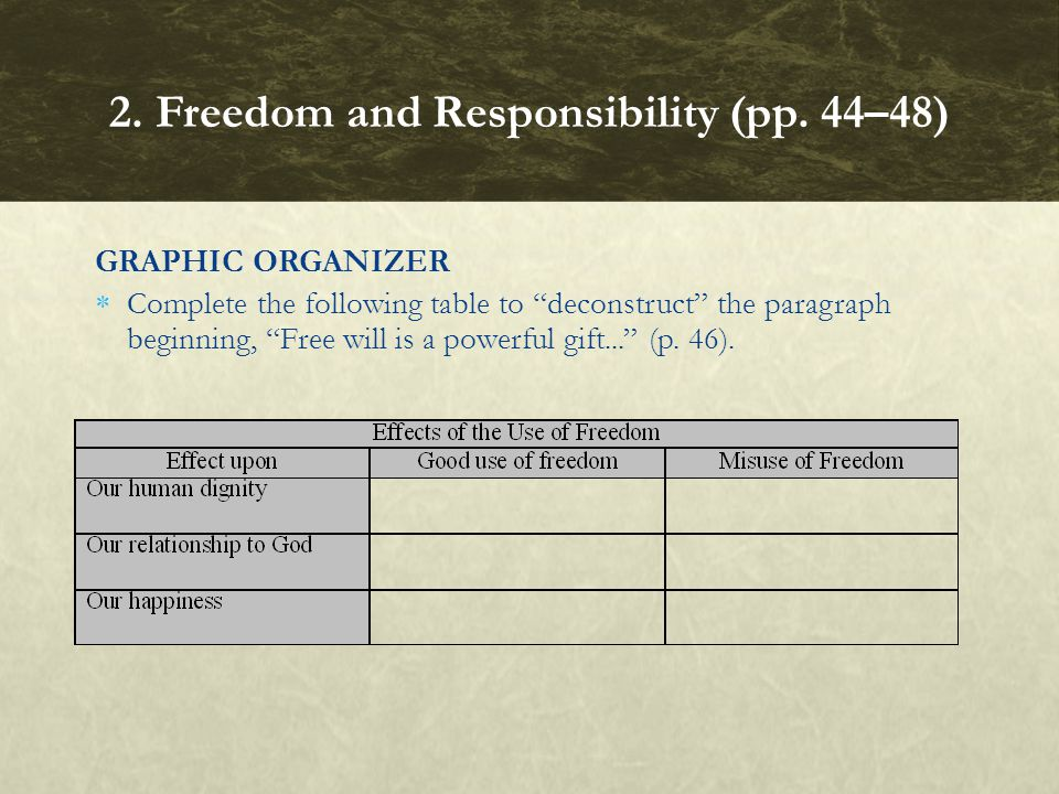GRAPHIC ORGANIZER  Complete the following table to deconstruct the paragraph beginning, Free will is a powerful gift... (p.