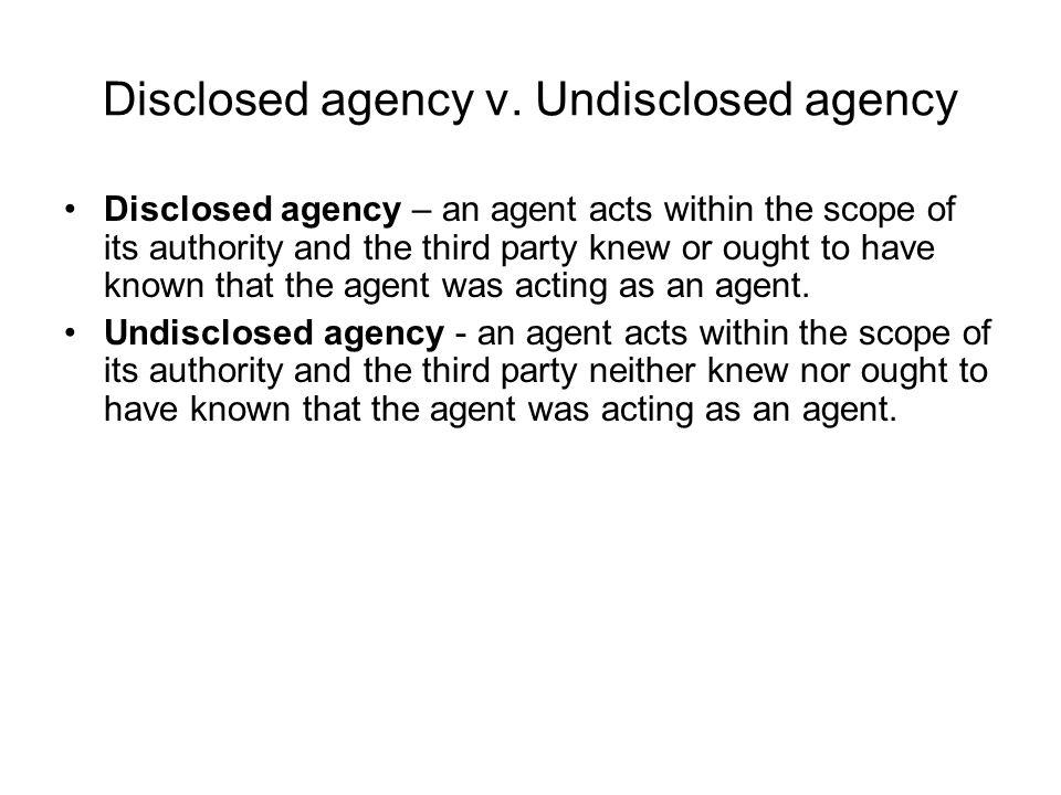 Disclosed agency v.