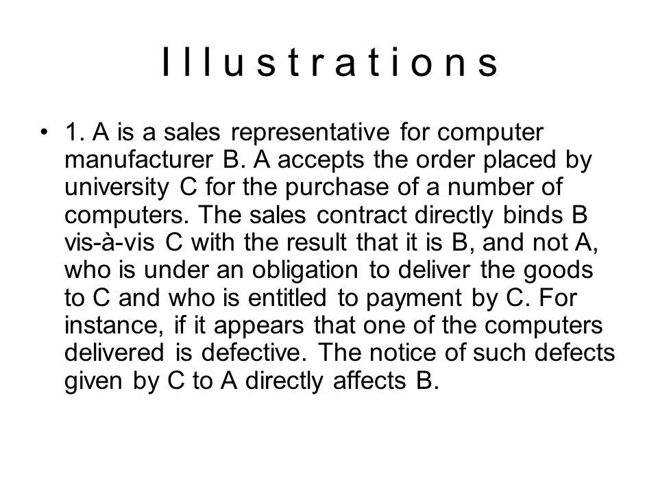 I l l u s t r a t i o n s 1.A is a sales representative for computer manufacturer B.