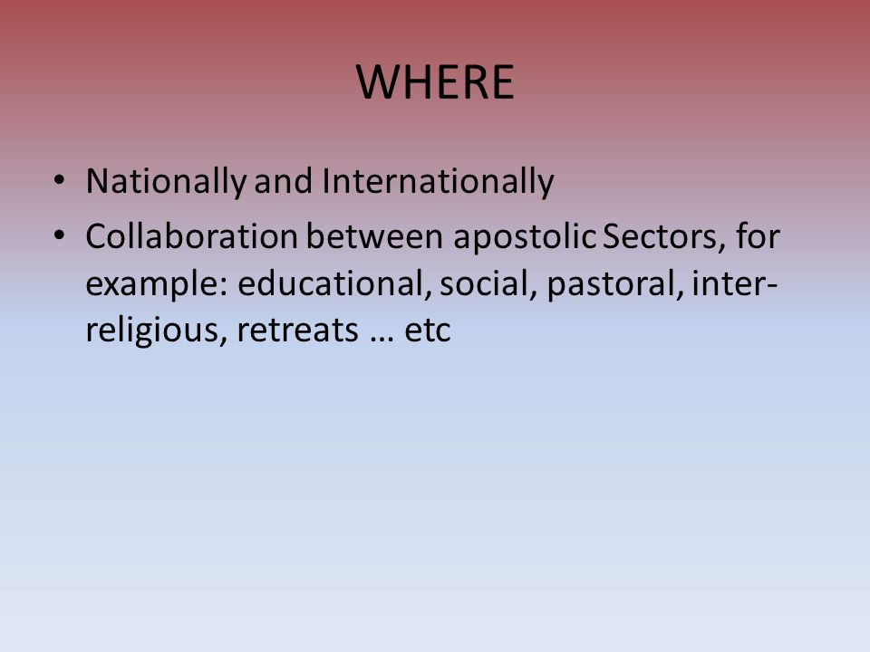WHERE Nationally and Internationally Collaboration between apostolic Sectors, for example: educational, social, pastoral, inter- religious, retreats …
