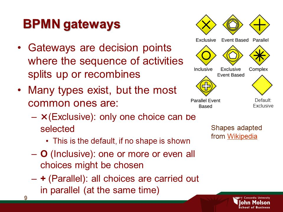 BPMN gateways Gateways are decision points where the sequence of activities splits up or recombines Many types exist, but the most common ones are: –×