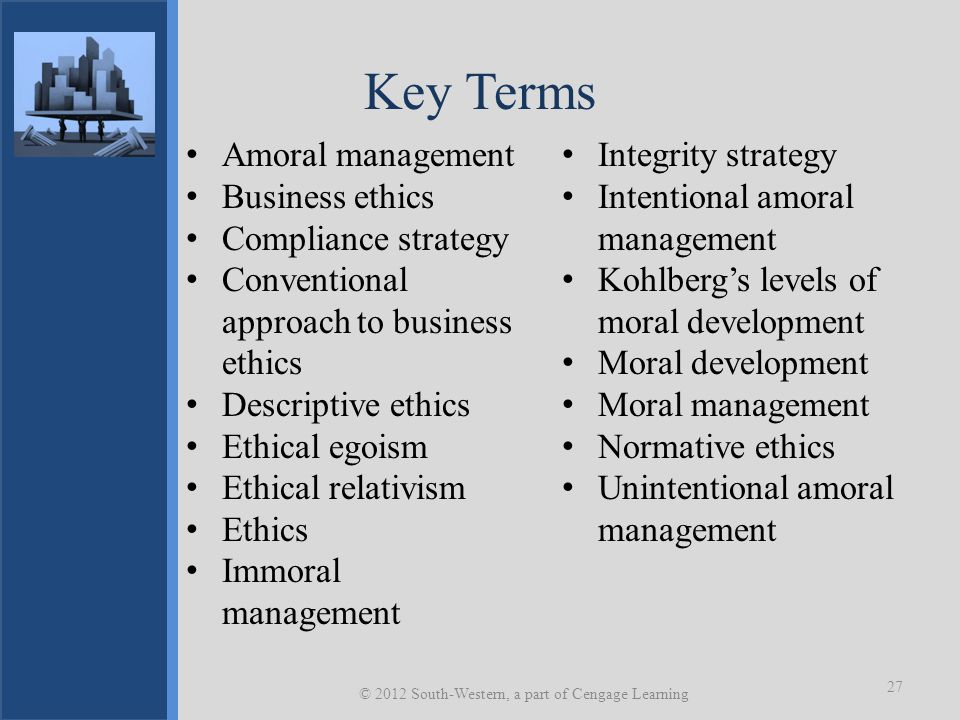 Key Terms Amoral management Business ethics Compliance strategy Conventional approach to business ethics Descriptive ethics Ethical egoism Ethical rel