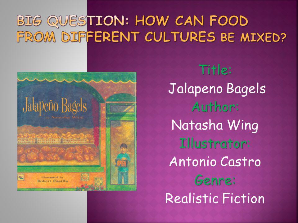 Title: Jalapeno BagelsAuthor: Natasha Wing Illustrator Illustrator: Antonio CastroGenre: Realistic Fiction