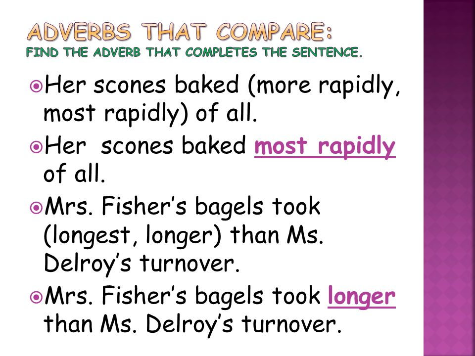  Her scones baked (more rapidly, most rapidly) of all.  Her scones baked most rapidly of all.  Mrs. Fisher's bagels took (longest, longer) than Ms.