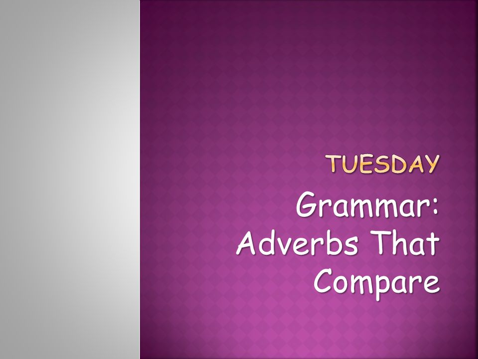 Grammar: Adverbs That Compare