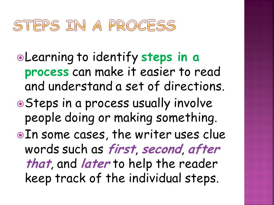  Learning to identify steps in a process can make it easier to read and understand a set of directions.  Steps in a process usually involve people d