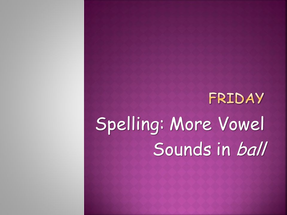 Spelling: More Vowel Sounds in ball
