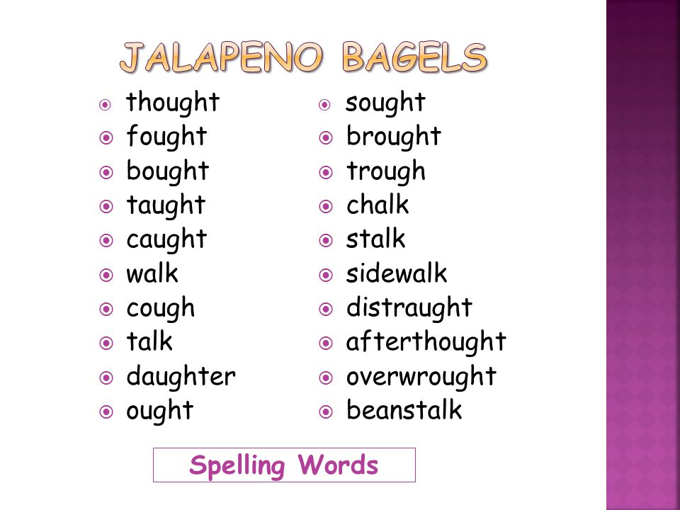 Spelling Words  thought  fought  bought  taught  caught  walk  cough  talk  daughter  ought  sought  brought  trough  chalk  stalk  si