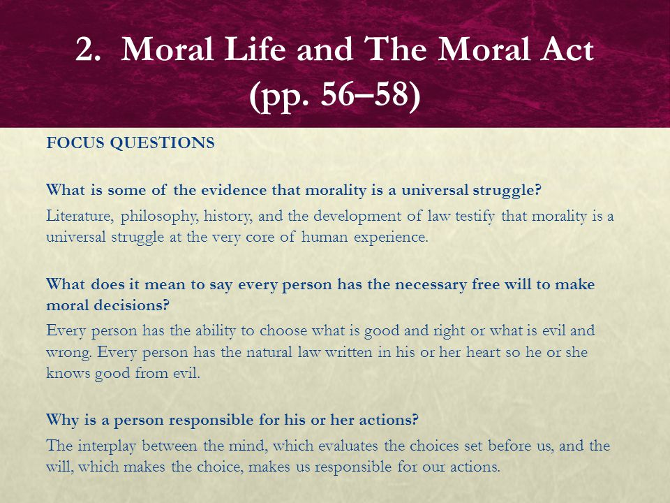 FOCUS QUESTIONS What is some of the evidence that morality is a universal struggle? Literature, philosophy, history, and the development of law testif