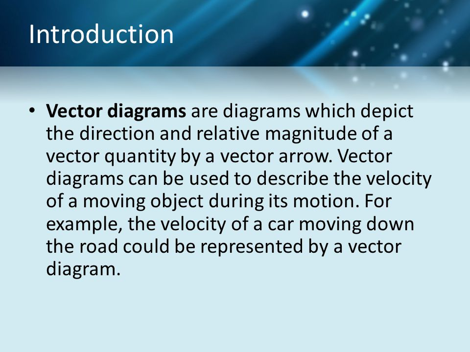 Introduction Vector diagrams are diagrams which depict the direction and relative magnitude of a vector quantity by a vector arrow. Vector diagrams ca