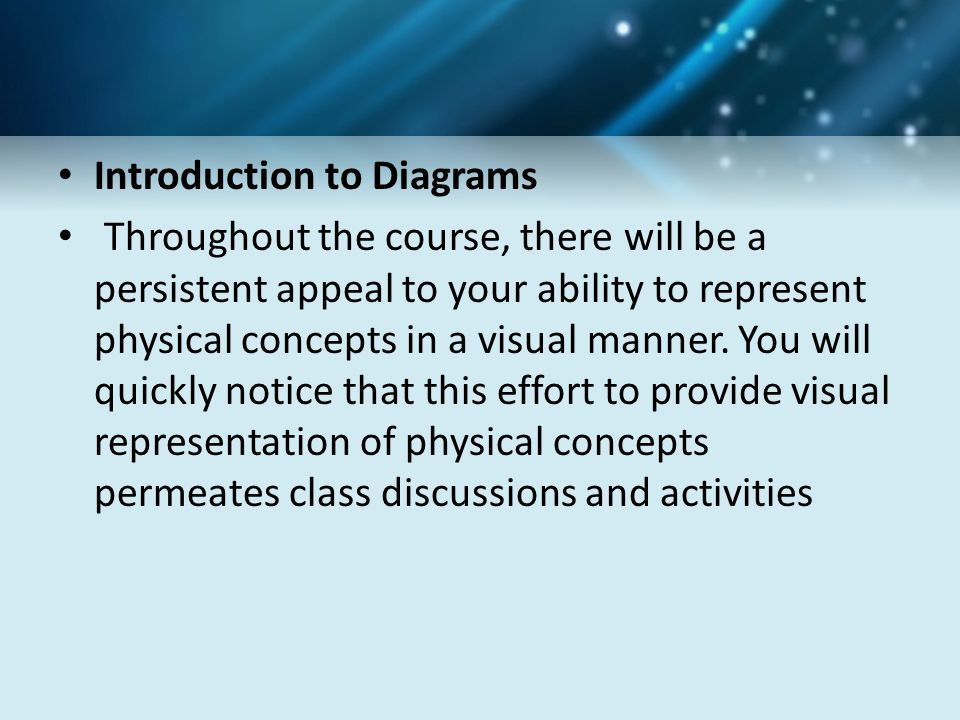 Introduction to Diagrams Throughout the course, there will be a persistent appeal to your ability to represent physical concepts in a visual manner.