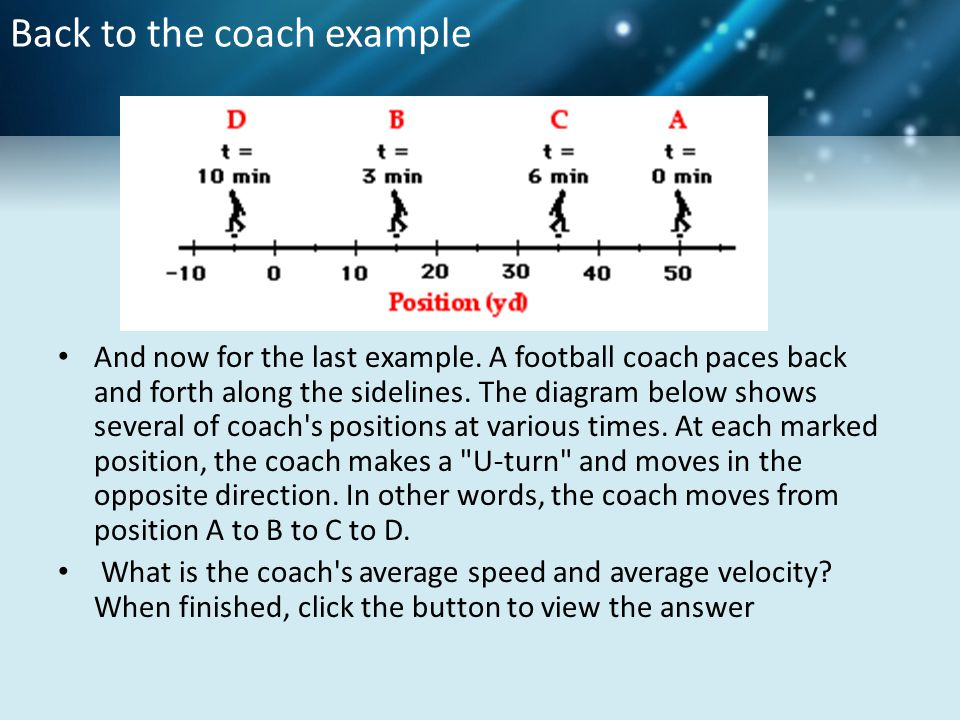 Back to the coach example And now for the last example. A football coach paces back and forth along the sidelines. The diagram below shows several of