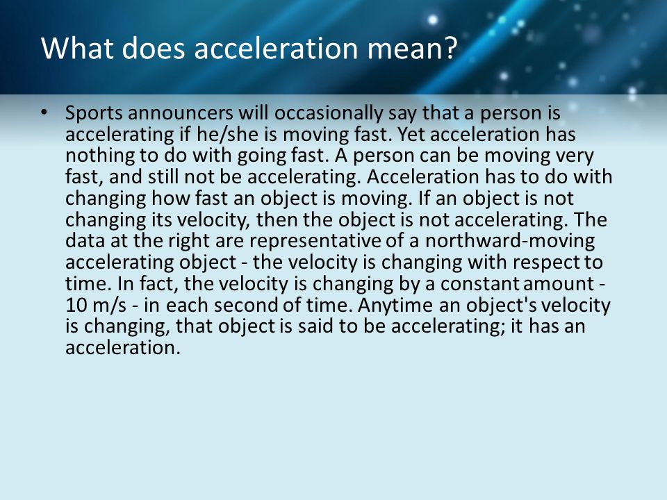 What does acceleration mean.