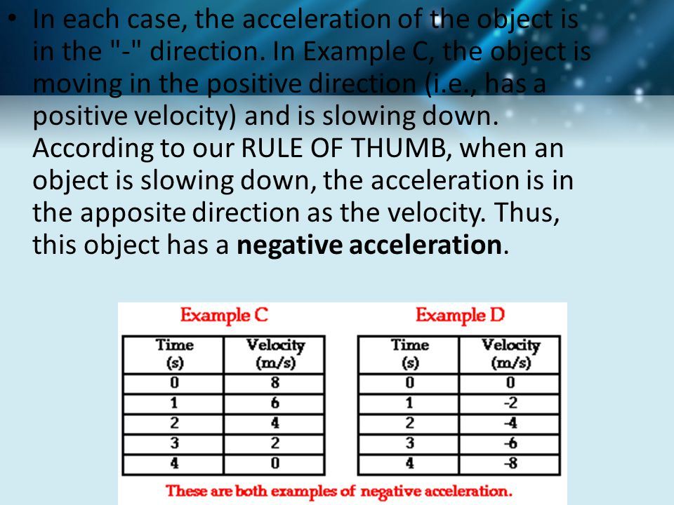 In each case, the acceleration of the object is in the