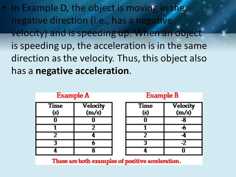 In Example D, the object is moving in the negative direction (i.e., has a negative velocity) and is speeding up. When an object is speeding up, the ac