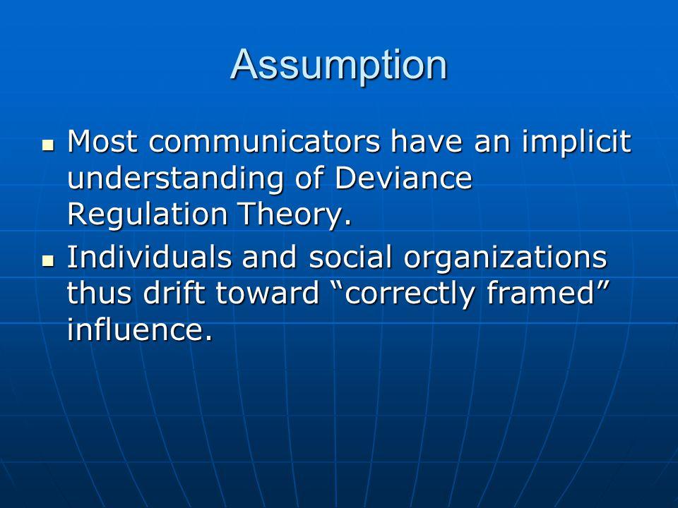Assumption Most communicators have an implicit understanding of Deviance Regulation Theory.