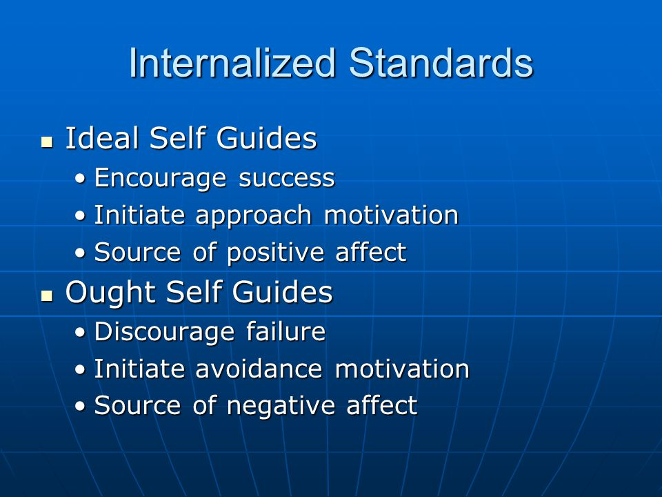 Internalized Standards Ideal Self Guides Ideal Self Guides Encourage successEncourage success Initiate approach motivationInitiate approach motivation Source of positive affectSource of positive affect Ought Self Guides Ought Self Guides Discourage failureDiscourage failure Initiate avoidance motivationInitiate avoidance motivation Source of negative affectSource of negative affect