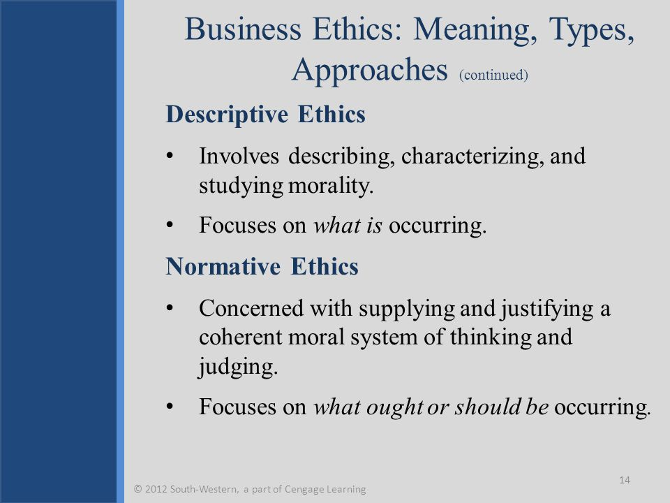 Business Ethics: Meaning, Types, Approaches (continued) Descriptive Ethics Involves describing, characterizing, and studying morality.