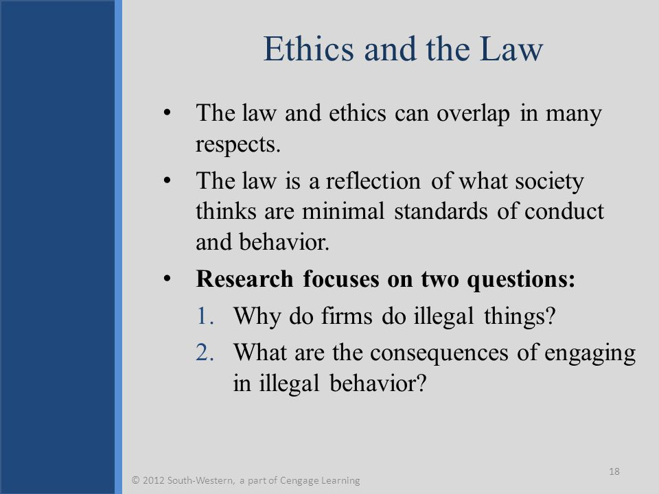 Ethics and the Law The law and ethics can overlap in many respects.