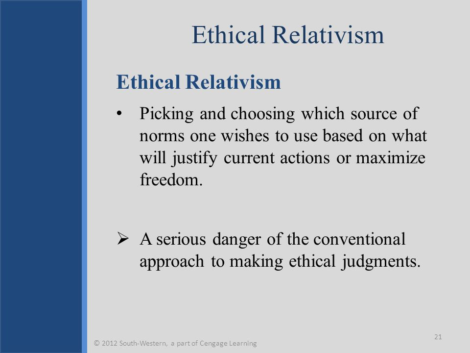Ethical Relativism Picking and choosing which source of norms one wishes to use based on what will justify current actions or maximize freedom.