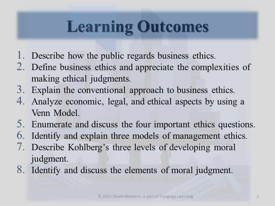 Learning Outcomes © 2012 South-Western, a part of Cengage Learning 1.