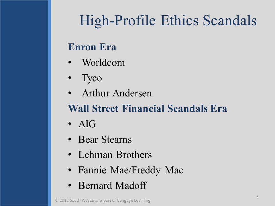 High-Profile Ethics Scandals Enron Era Worldcom Tyco Arthur Andersen Wall Street Financial Scandals Era AIG Bear Stearns Lehman Brothers Fannie Mae/Freddy Mac Bernard Madoff 6 © 2012 South-Western, a part of Cengage Learning