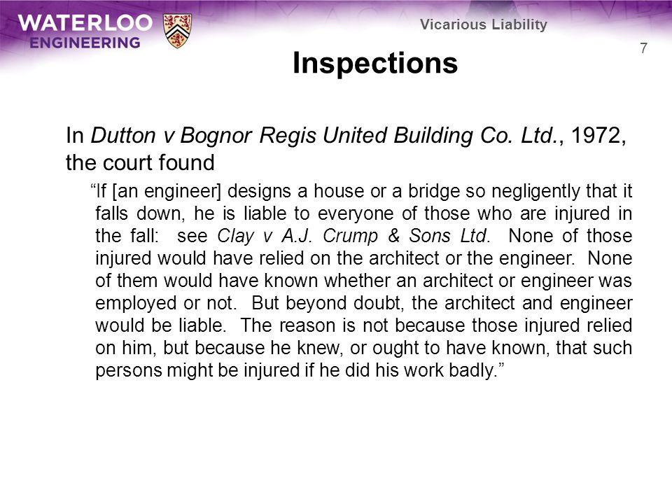 Inspections In Dutton v Bognor Regis United Building Co.