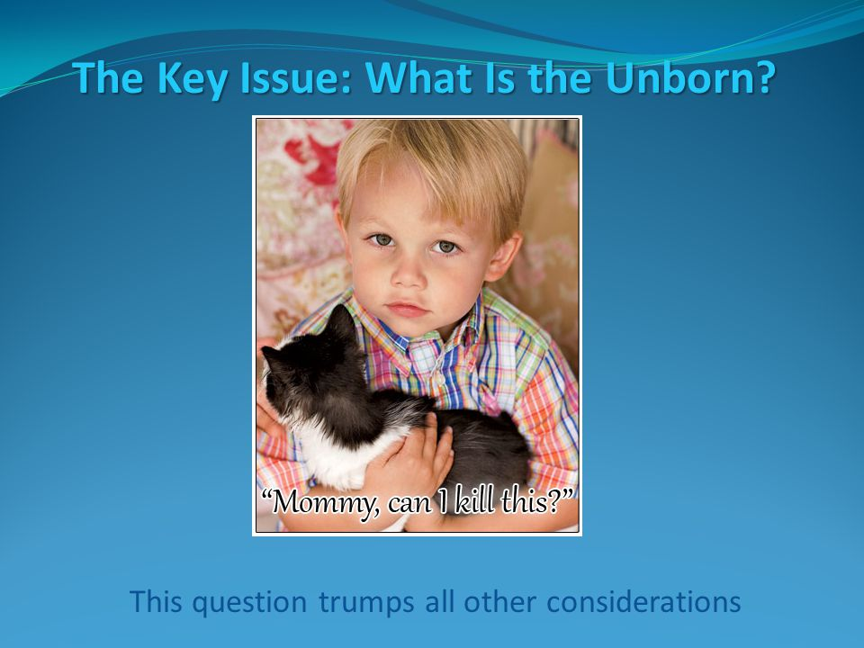 The Key Issue: What Is the Unborn.People will say that women ought to have a right to privacy.