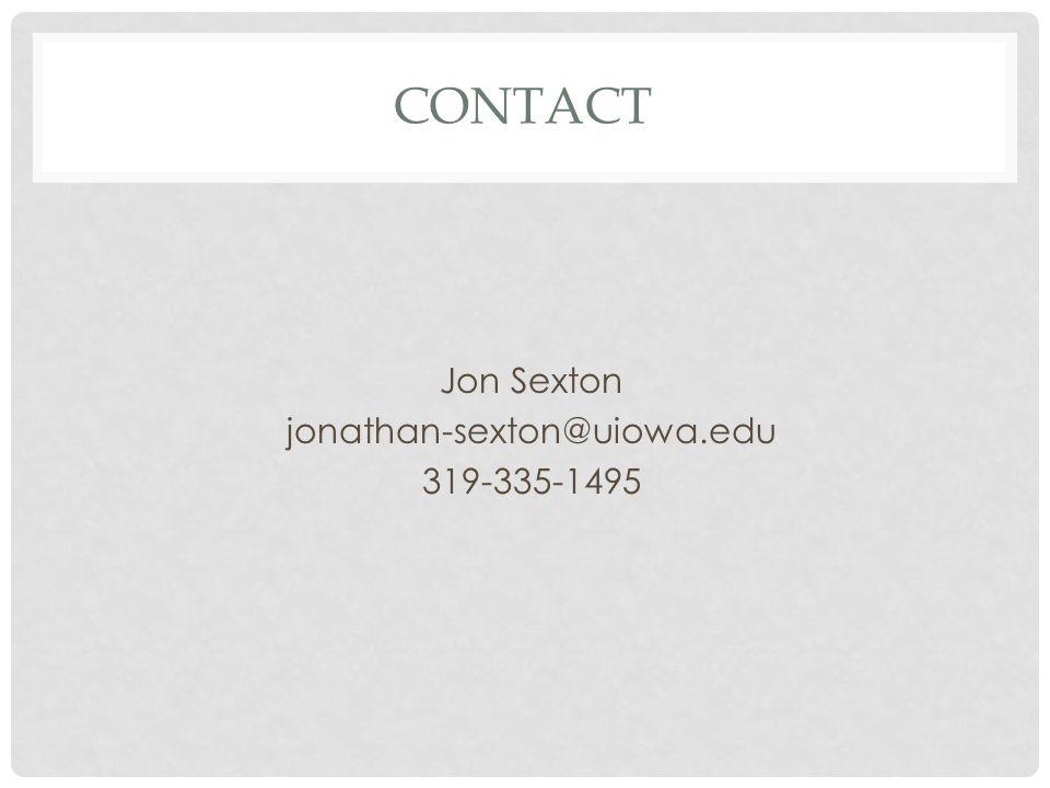 CONTACT Jon Sexton jonathan-sexton@uiowa.edu 319-335-1495