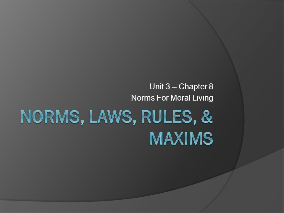 Norms  Norms are something that is usual, typical, or standard a standard or pattern, especially of social behaviour, that is typical or expected a required standard; a level to be complied with or reached: http://oxforddictionaries.com/definition/english/norm