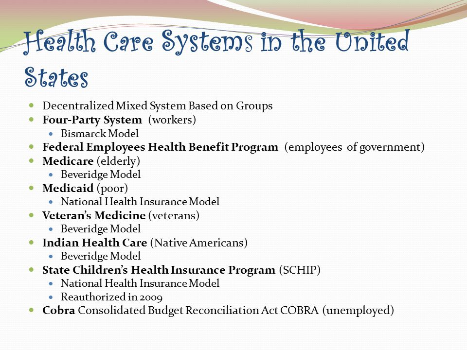 Health Care Systems in the United States Decentralized Mixed System Based on Groups Four-Party System (workers) Bismarck Model Federal Employees Health Benefit Program (employees of government) Medicare (elderly) Beveridge Model Medicaid (poor) National Health Insurance Model Veteran's Medicine (veterans) Beveridge Model Indian Health Care (Native Americans) Beveridge Model State Children's Health Insurance Program (SCHIP) National Health Insurance Model Reauthorized in 2009 Cobra Consolidated Budget Reconciliation Act COBRA (unemployed)