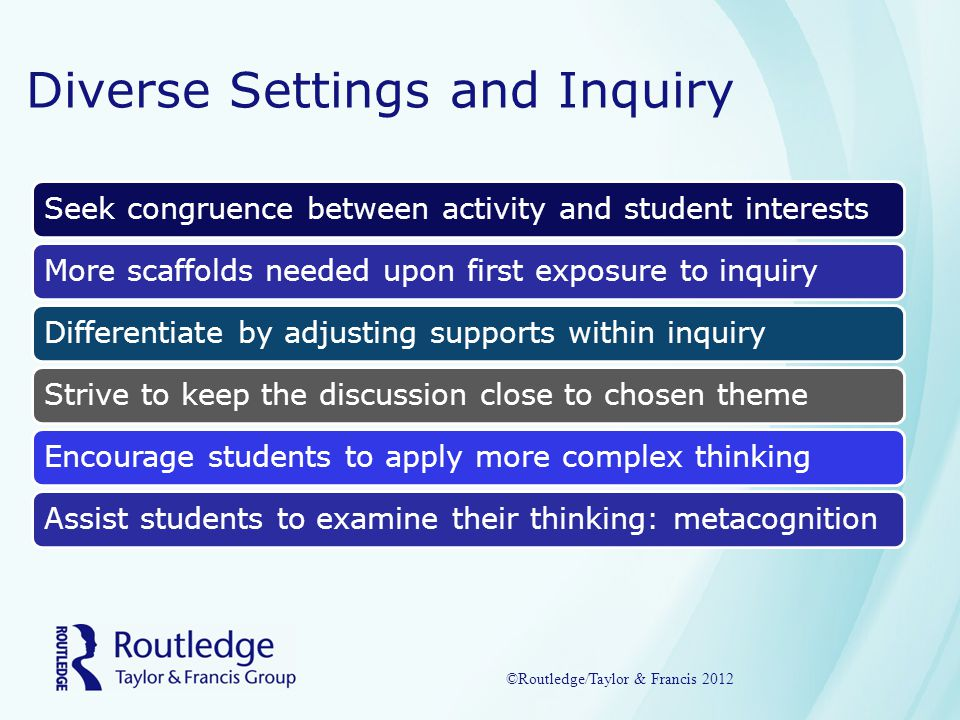 Diverse Settings and Inquiry Seek congruence between activity and student interestsMore scaffolds needed upon first exposure to inquiryDifferentiate by adjusting supports within inquiry Strive to keep the discussion close to chosen theme Encourage students to apply more complex thinking Assist students to examine their thinking: metacognition ©Routledge/Taylor & Francis 2012