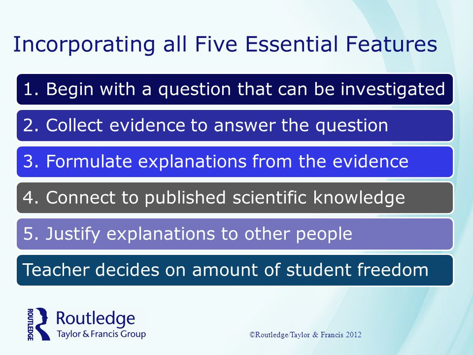 Incorporating all Five Essential Features 1. Begin with a question that can be investigated2.