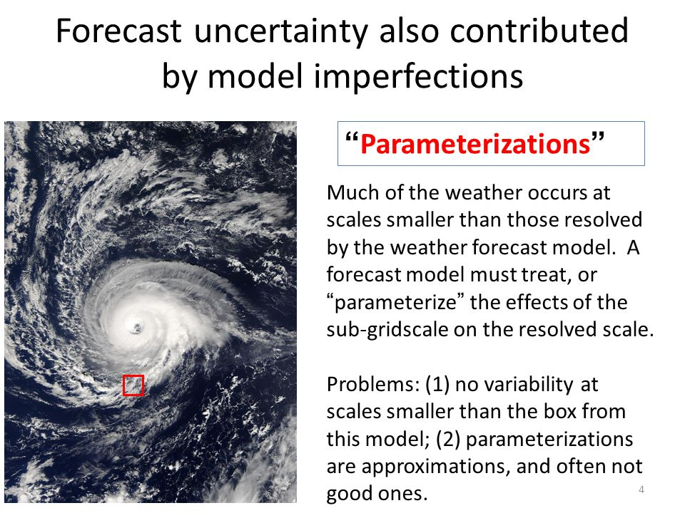 "Forecast uncertainty also contributed by model imperfections 4 "" Parameterizations "" Much of the weather occurs at scales smaller than those resolved"