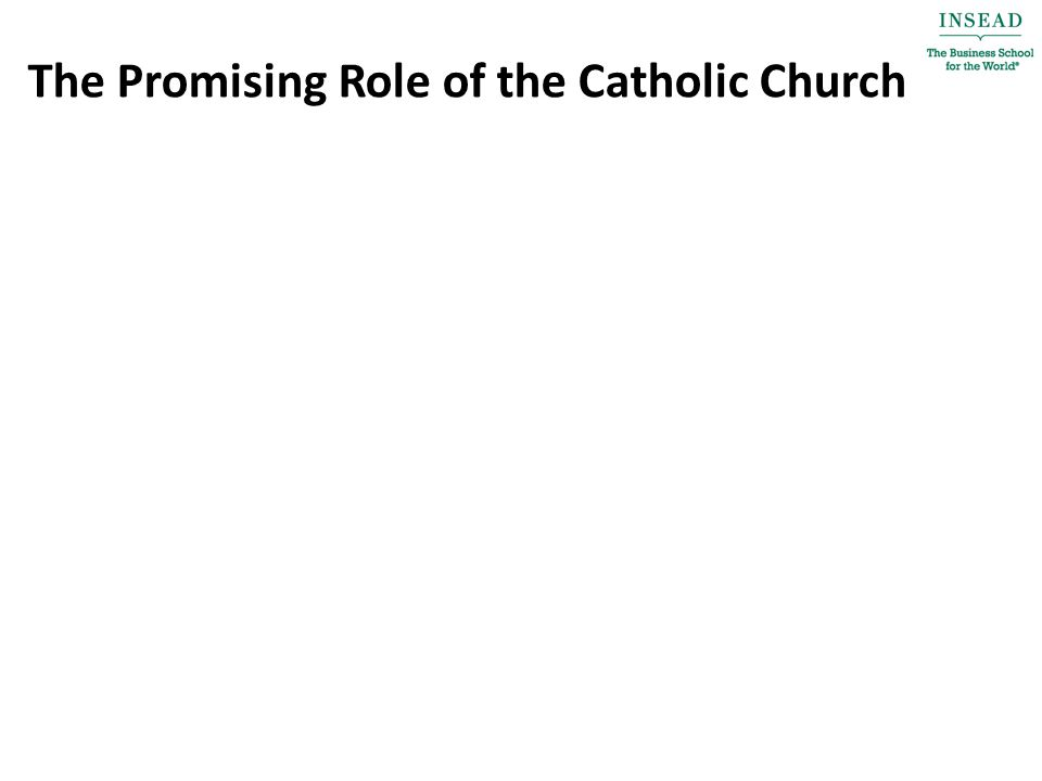 The Promising Role of the Catholic Church